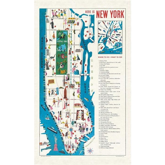 City Map Of New York City.Vintage New York Map Tea Towel