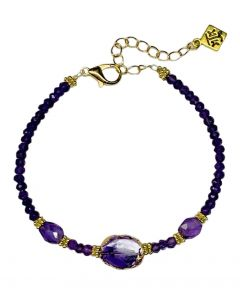 Natural Sliced and Faceted Amethyst Bead Bracelet