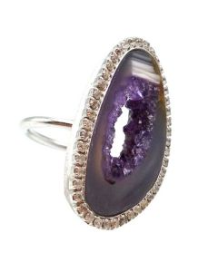 Open Agate Slice Sparkle Ring