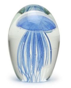 Blue Baby Jellyfish Glass Paperweight