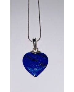 Blue Natural Lapis Heart Pendant and Chain