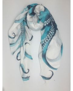 Blue and White Octopus Scarf