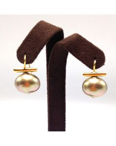 Pebble Pearl Earrings - Champagne