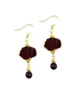Handcrafted Garnet Slice Earrings