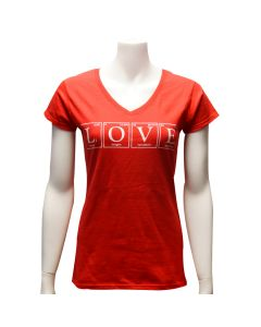 Ladies Red LOVE Periodic Table T-Shirt