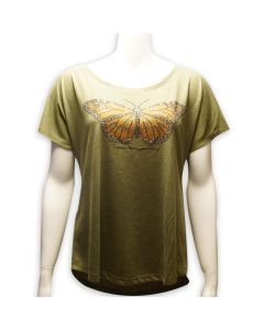 Ladies Dolman Rhinestone Butterfly T-Shirt
