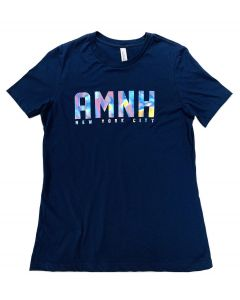 Ladies Navy AMNH Iridescent Logo T-Shirt