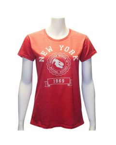 Ladies Red New York AMNH Varsity T-Shirt