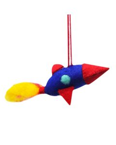 Handcrafted Wool Felt Space Rocket Ornament