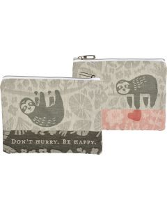 Sloth ''Don't Hurry Be Happy'' Zipper Pouch