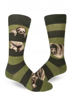 Men's Green Striped Sloth Crew Socks