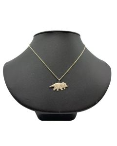 Sterling Silver Origami Triceratops Necklace