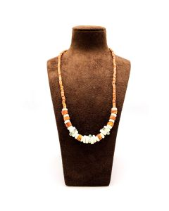 African Bauxite Stone and Recycled Glass Bead Necklace