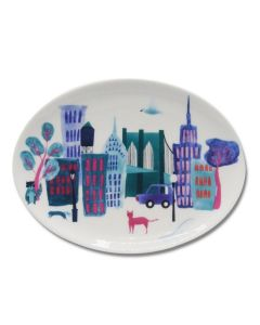 NYC Collage Oval Plate