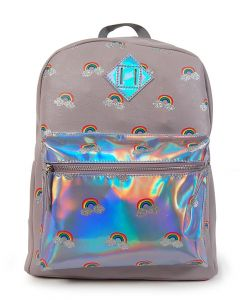Holographic Vinyl Rainbow Backpack