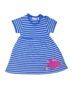 Infant / Toddler Blue Striped Dinosaur Dress